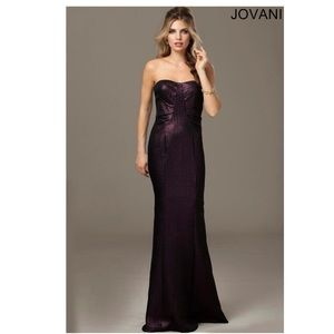 Jovani Evenings Wine Long Strapless Gown